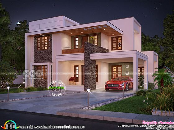 2165 sq-ft 4 bedroom contemporary flat roof house