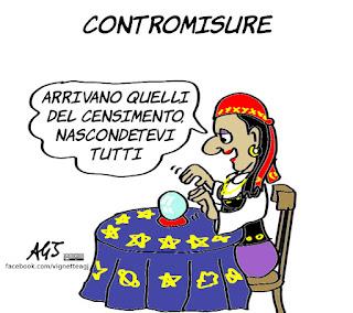 rom, zingari, censimento, salvini, indovini, vignetta, satira