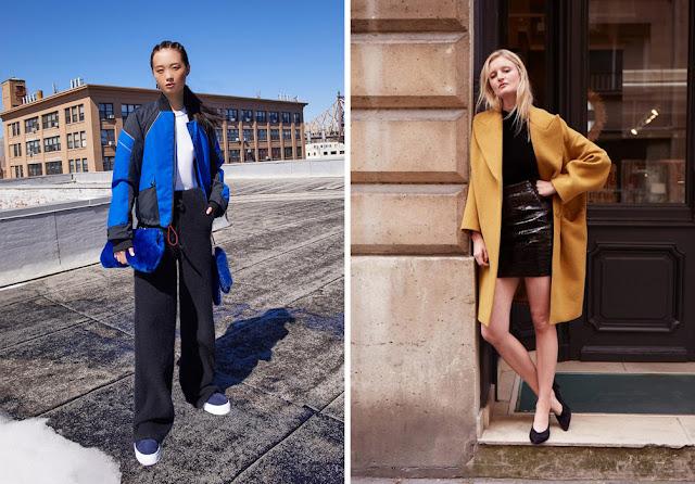 Девушки в ярком синем пуховике и желтом пальто