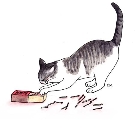 Cat playing by Yukié Matsushita