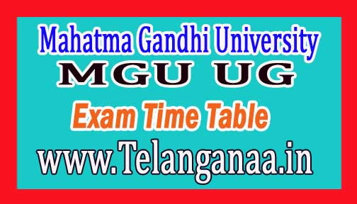 MGU UG 1st Sem Exam Time Table 2016