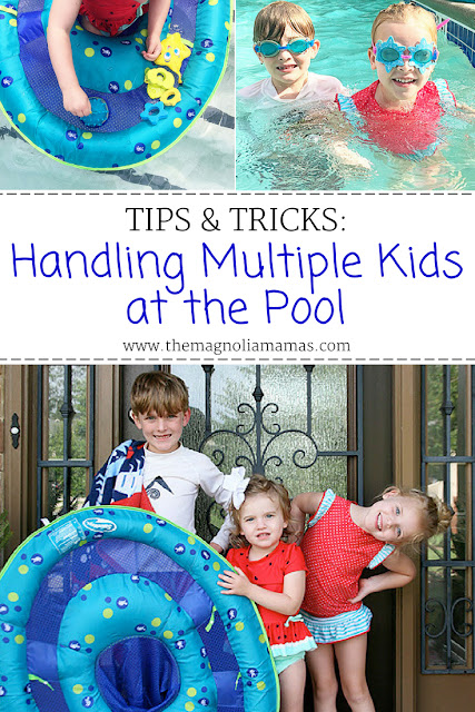 Tips & tricks for parents bringing multiple kids to the pool. How to survive and have fun while bringing more than one child to the pool. Keep safe and have fun with SwimWays Baby Spring Float Activity Center! #SwimWays #BabySpringFloat, #SpringFloat, #FloatWithSwimWays, #IC #ad