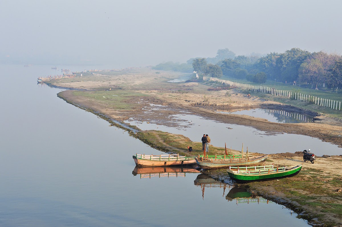 Boats in river Yamuna in Mathura morning