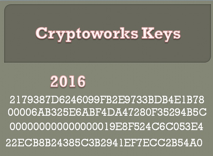 Satellite Cryptoworks Keys 2017