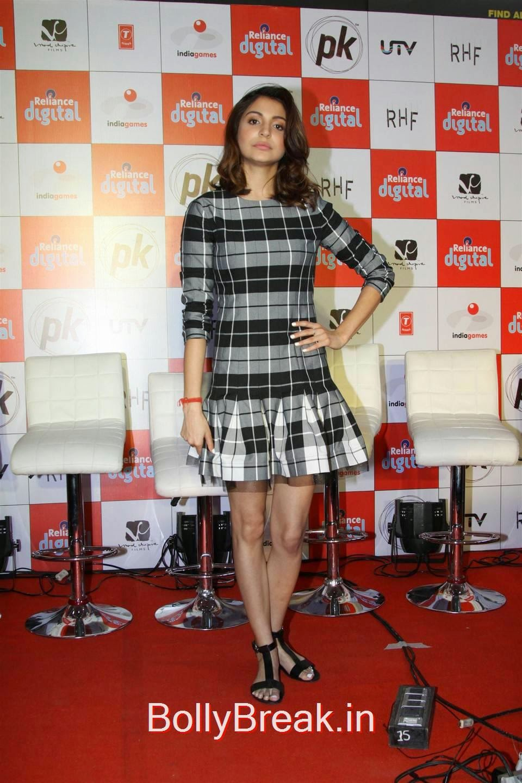 Anushka Sharma images, Anushka Sharma Hot Pics In check dress from PK Mobile Game Launch