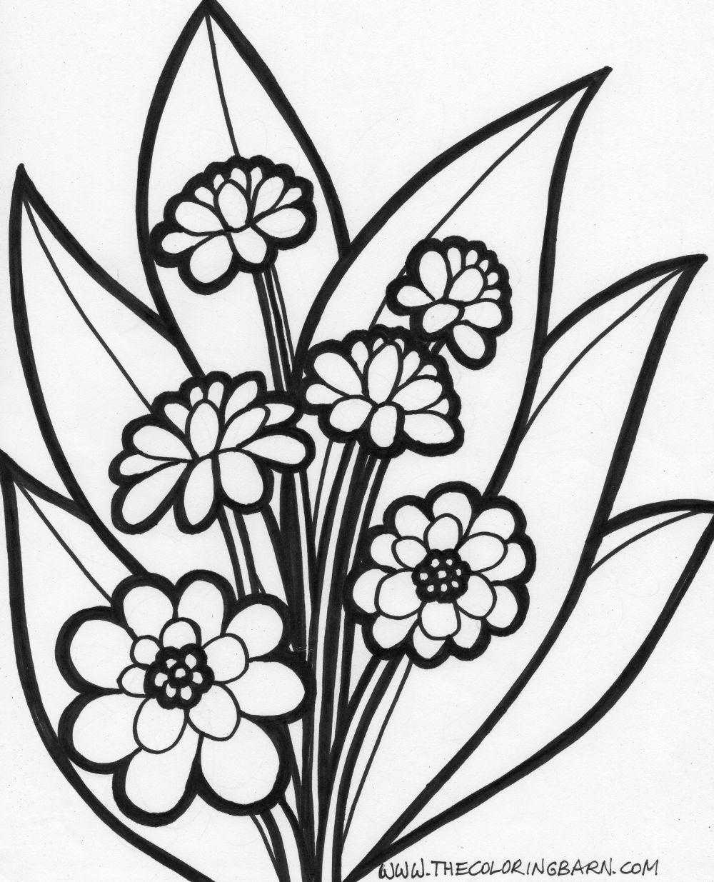 Unique Simple Flower Coloring Page Image