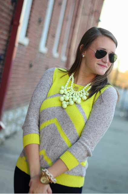 Madewell Yellow Chevron Sweater, chevron sweater, madewell sweater, madewell chevron