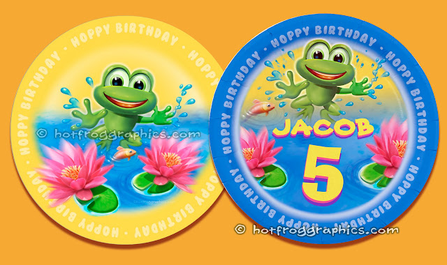 Two birthday paper plates from Leaping Frog range by Hot Frog Graphics