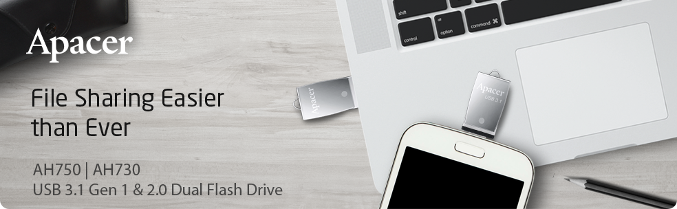 Apacer AH730 and AH750 Dual Interface OTG Flash Drives