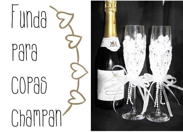 fundas de crochet para copas de champan, fundas para copas