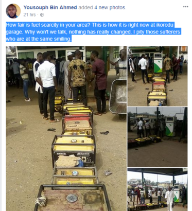 Nigerians queue with Generator at petrol station to buy fuel