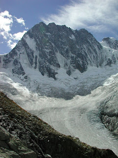 The Grandes Jorasses in the Mont Blanc massif, where Cassin scaled the Walker Spur