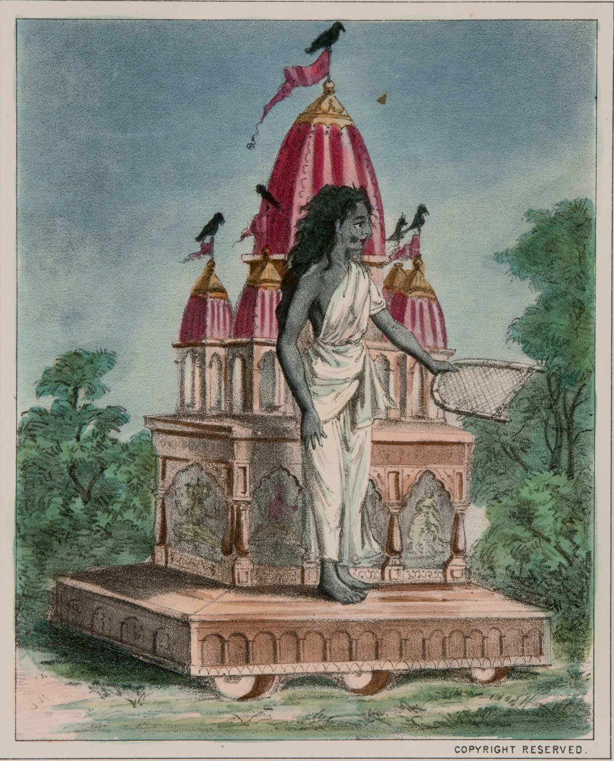 Goddess Dhumavati, One of the Mahavidya - Vintage Print, Late 19th Century
