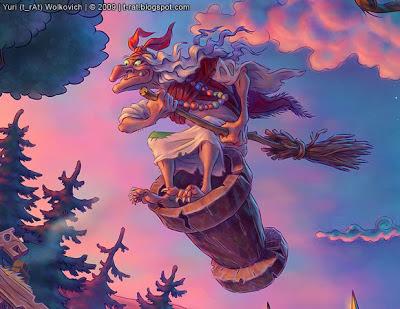 Баба Яга в ступе - Иллюстрация - Юрий (t_rAt) Волкович