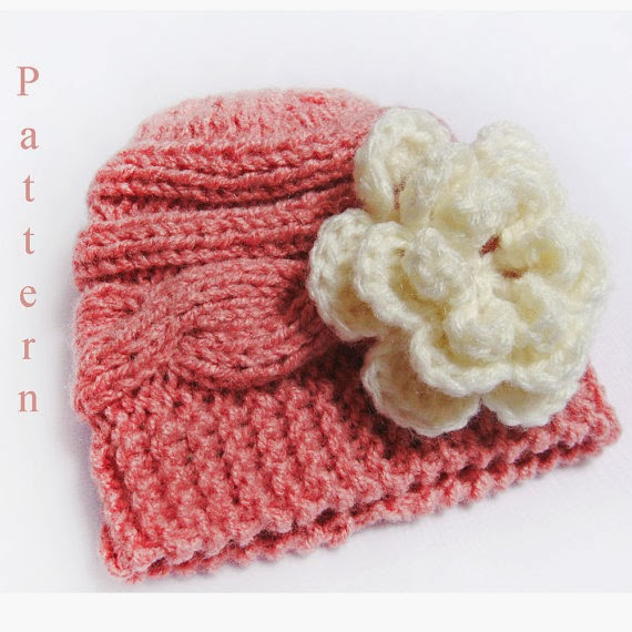 Knitting Pattern Baby Hat Newborn Cable Hat , pink