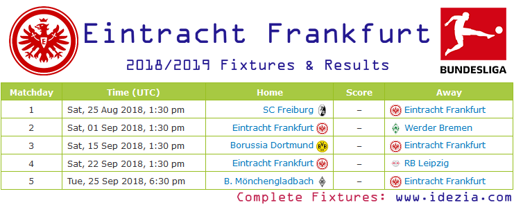 Download Full Fixtures PDF Eintracht Frankfurt 2018-2019