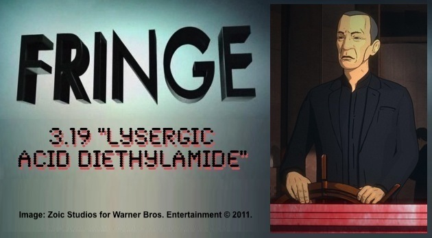 Fringe 3.19 Lysergic Acid Diethylamide / animated still of Leonard Nimoy as William Bell at the wheel of a ship