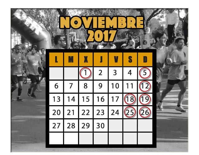Calendario carreras Noviembre 2017
