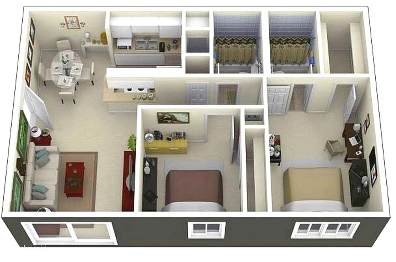 12 denah rumah sederhana 2 kamar tidur | model rumah minimalis terbaru