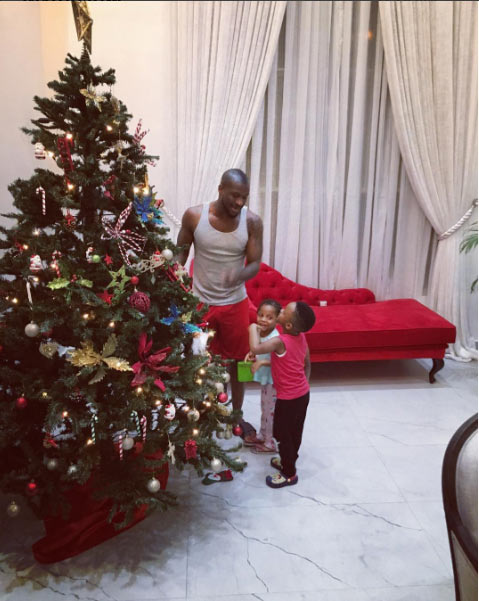 Peter Okoye and family decorate Christmas tree