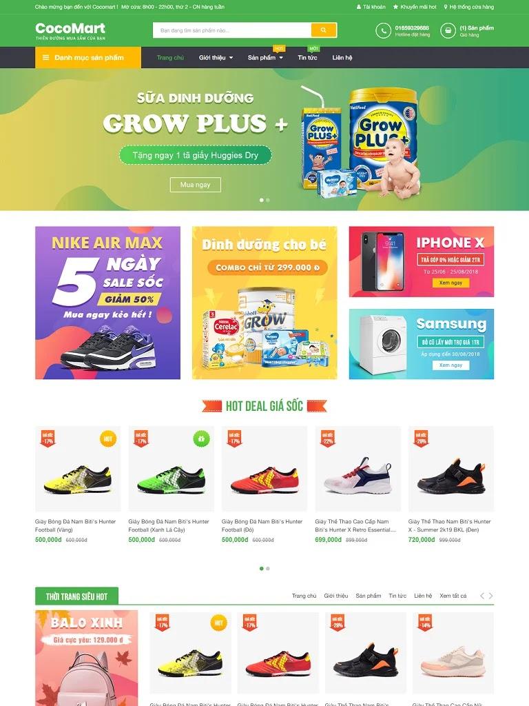 Template blogspot bán hàng Cocomart Green chuẩn seo
