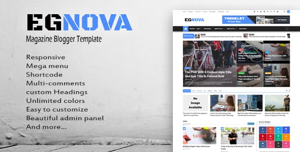 Egnova Premium Version Blogger Template Free Download - Tectuner