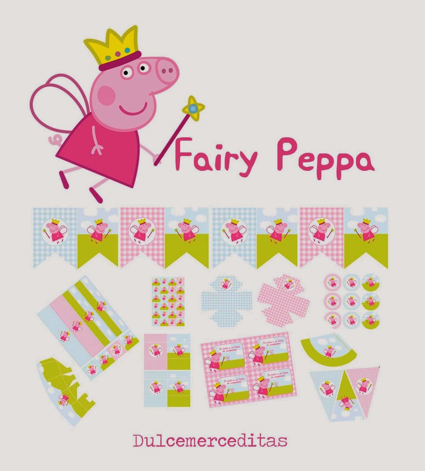 Kit de Peppa Pig Hada para Imprimir Gratis.