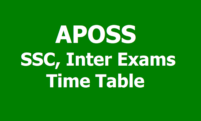 APOSS SSC, Inter Exams 2019 Time Table @ apopenschool.org