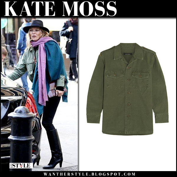Kate Moss in army green shirt jacket equipment and black jeans street style february 16