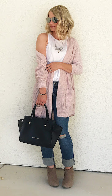 Thrifty Wife, Happy Life- blush cardigan with distressed jeans