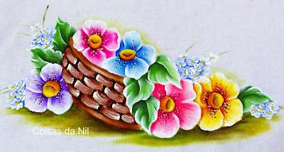 """pano de copa com pintura de cesta de flores"""