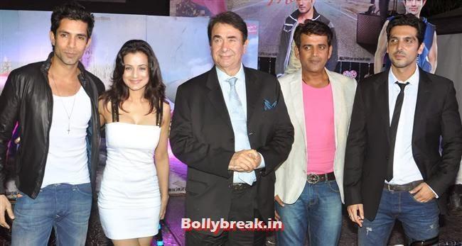 Sahil Shroff and Amisha Patel, Hot Amisha Patel in White Dress at Desi Magic Poster Launch