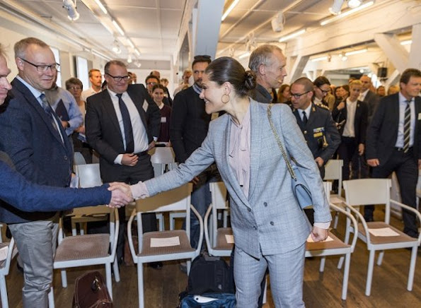 Princess Victoria Sustainable Seas Initiative's Baltic Sea Seminar, Tre Kronor af Stockholm in  in Skeppsholmen, Valentino bag, Zara blouse, wore Pantsuit