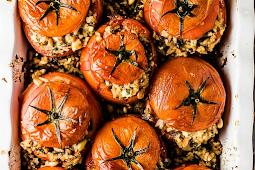 Mediterranean Tomatoes Stuffed with Rice #vegan #recipevegetarian