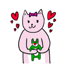 kerosuke the frog and coco the pink cat