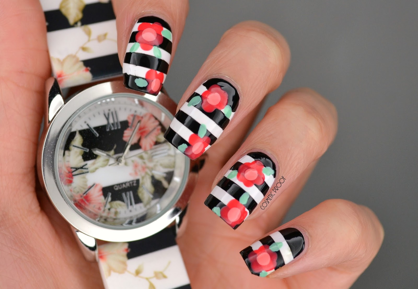 Nails its time for flowers cosmetic proof vancouver beauty spring flower striped nail art izmirmasajfo