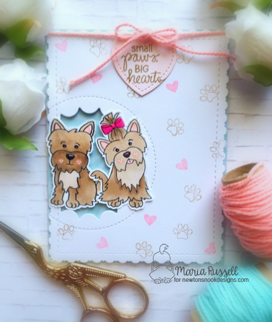 Small Paws, Big Hearts Card by Maria Russell | Terrific Terriers stamp set by Newton's Nook Designs #newtonsnook #handmade