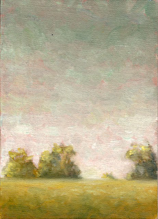 Oil painting of several trees viewed beyond the horizon line in front of a pink-grey sky.