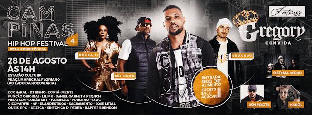 Edi Rock, Eduardo, Negra Li e Gregory se apresentam em Campinas neste domingo (28)