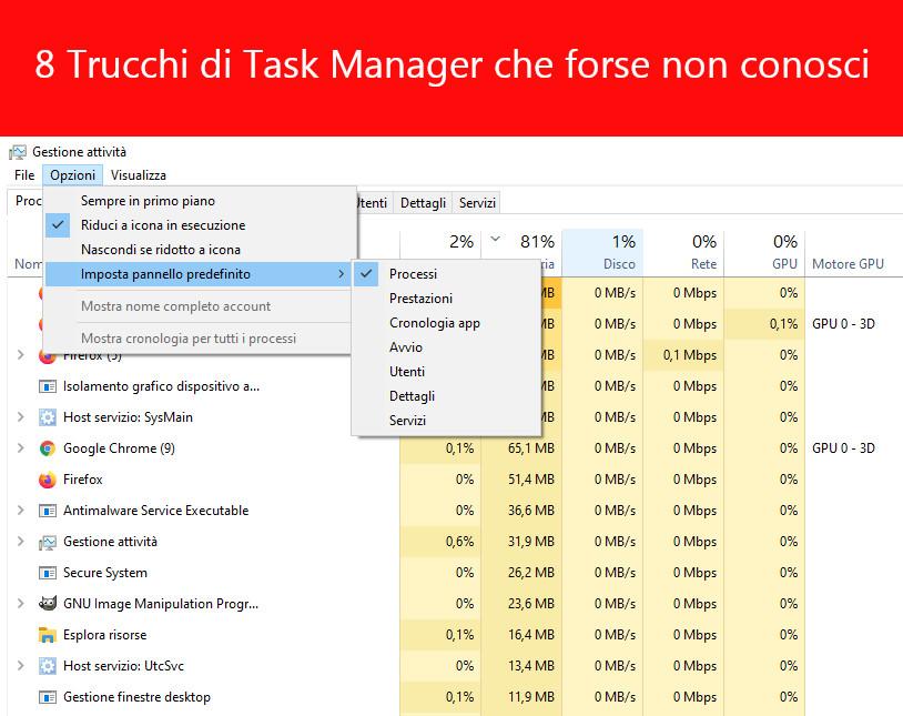 Suggerimenti e trucchi per Task Manager di Windows di cui potresti non essere a conoscenza