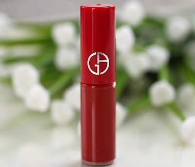 red liquid lipstick swatch