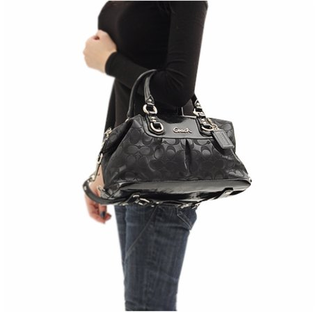 966965727284 This Coach Ashley Signature Satchel is a combination of black sateen patent  leather and silver hardware combined together exceptionally well  resulting  in a ...