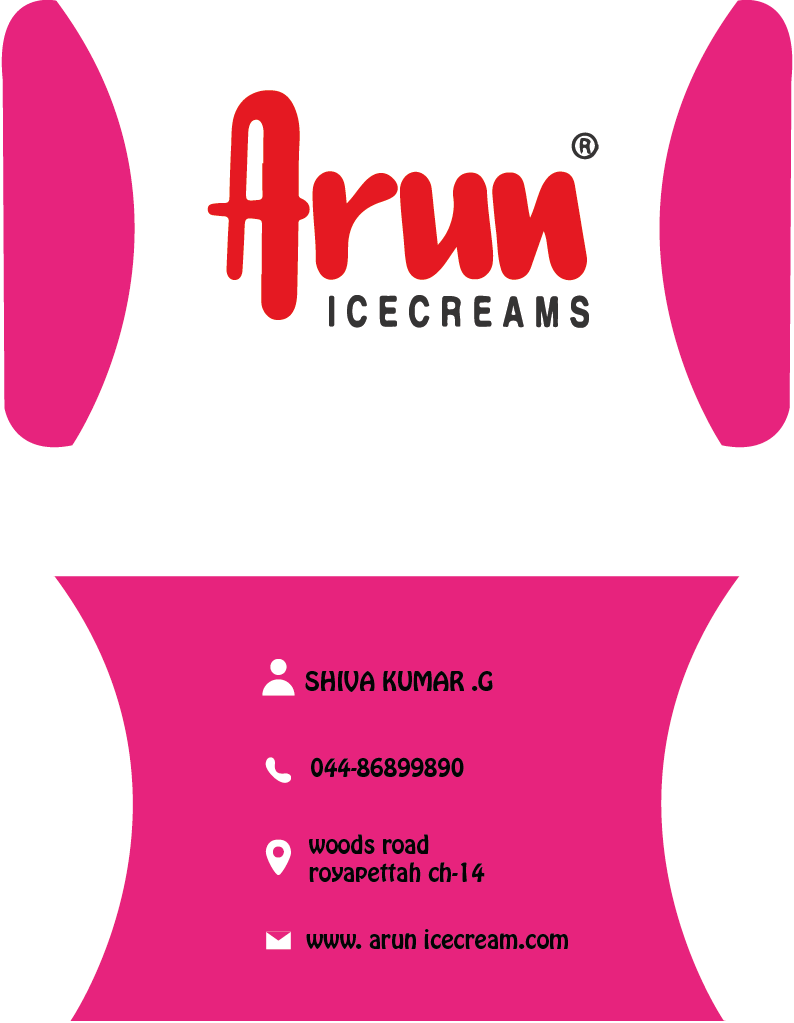 BUSINESS CARD FOR ARUN ICE CREAM