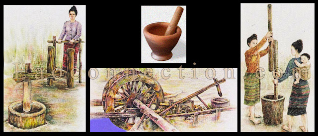 Different Mortar and Pestles Used in Laos / ເຄື່ອງຕຳເຂົ້າ