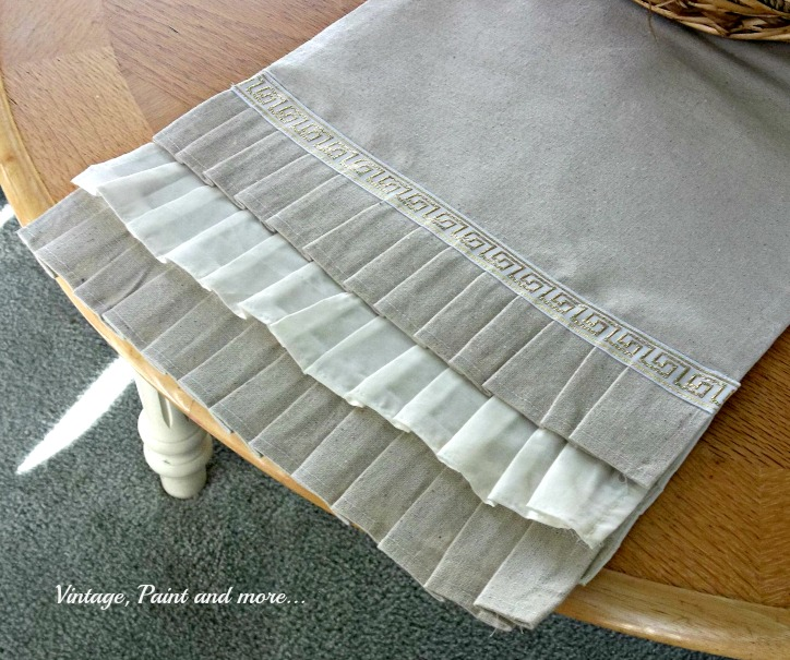 Vintage, Paint and more... a DIY'd table runner made from a drop cloth, a sheet and gold trim