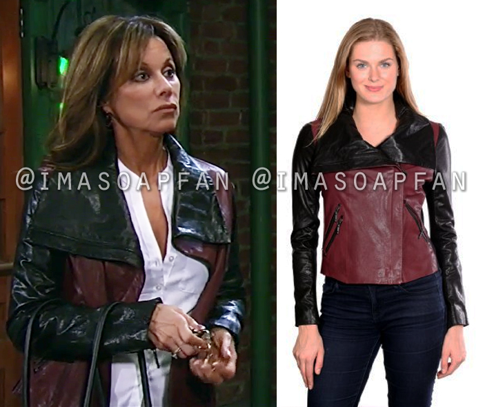 Alexis Davis, Nancy Lee Grahn, Burgundy and Black Leather Moto Jacket, General Hospital, GH