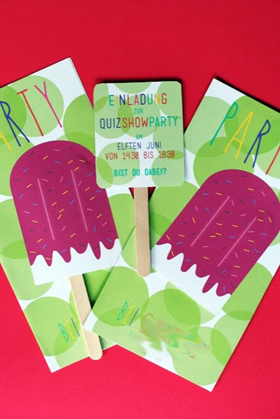 Einladungskarten Eis DIY