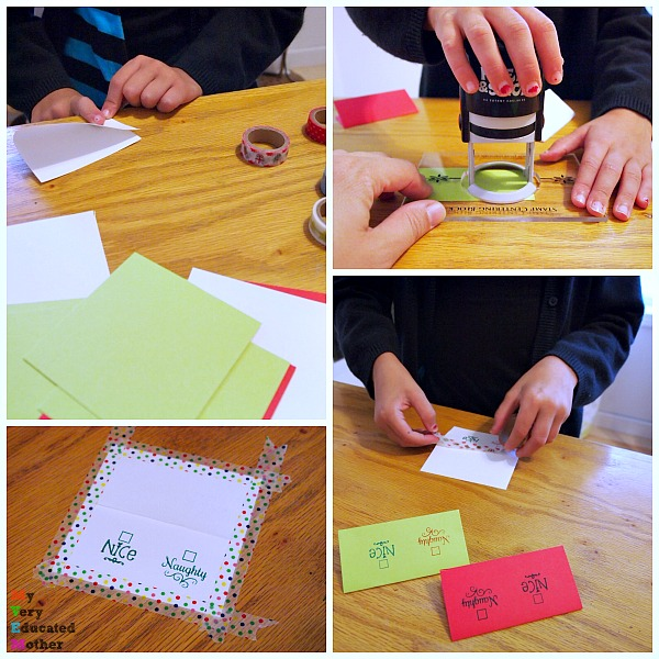 Kids can use stamps too! We created these Naughty or Nice Gift Tags with PSA Essentials and washi tape.