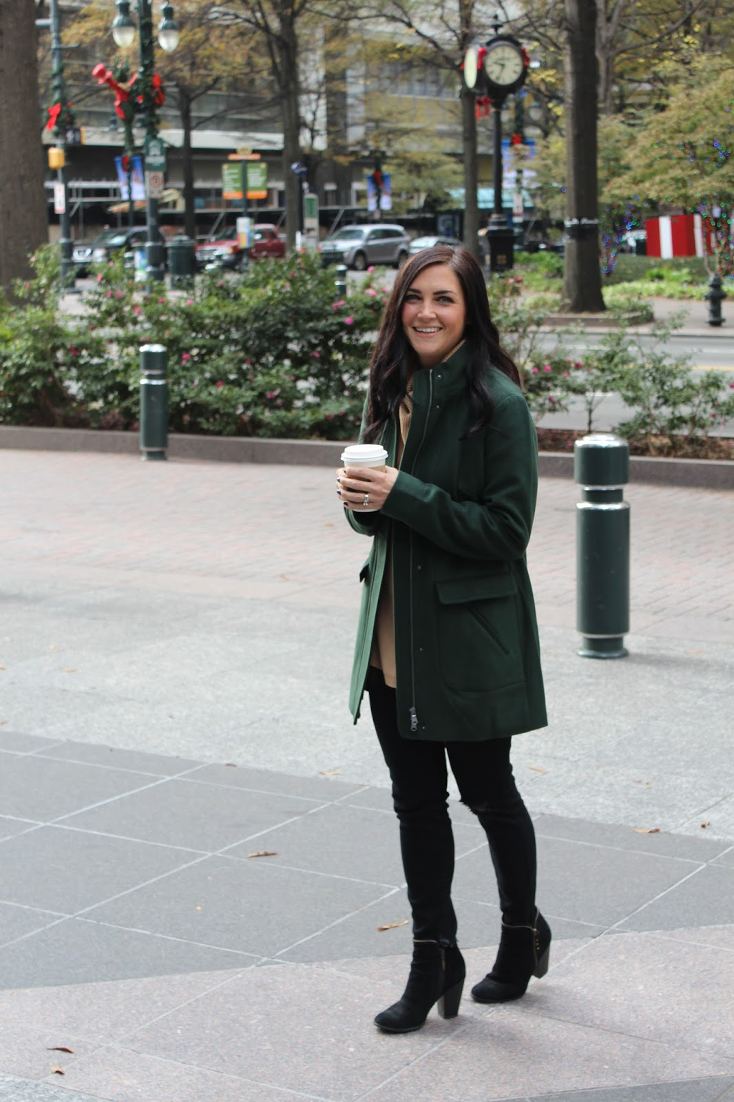 J Jill Hunter green coat | Cowl Neck Nordstrom Sweater | Distressed Black Denim