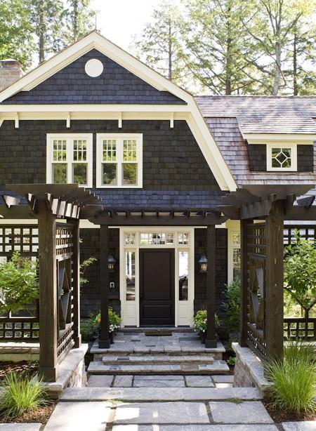La maison boheme black cottage white trim - Best exterior paint for wood trim ...